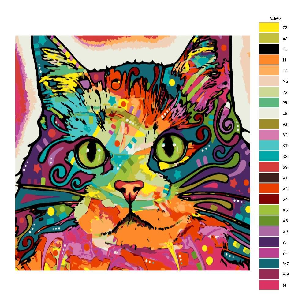 Návod pro malování podle čísel Mapa kočky