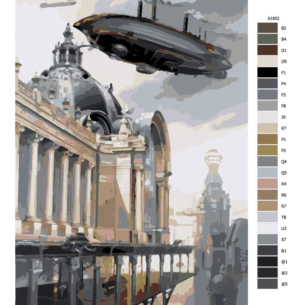 Návod pro malování podle čísel Přistávání budoucnost