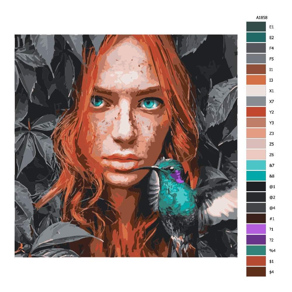 Návod pro malování podle čísel S kolibříkem