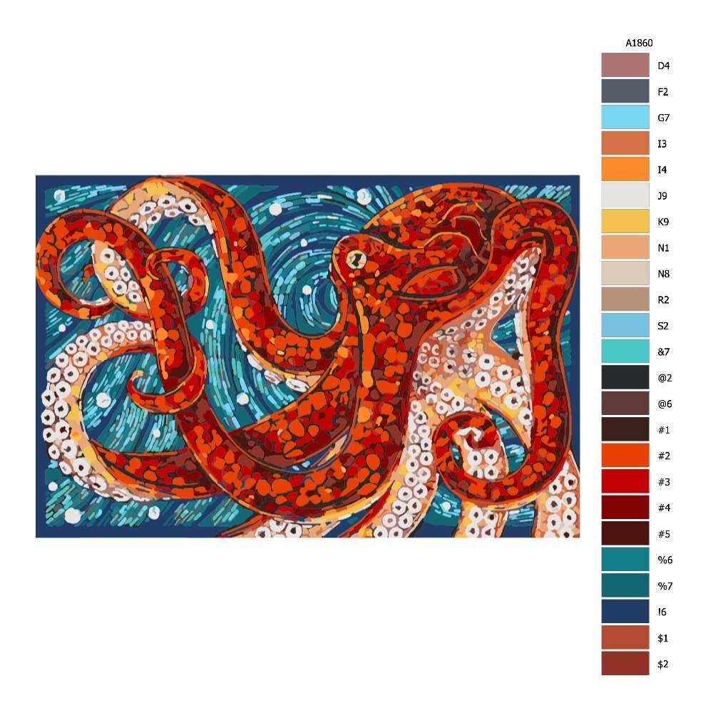 Návod pro malování podle čísel Chobotnice v mozaice