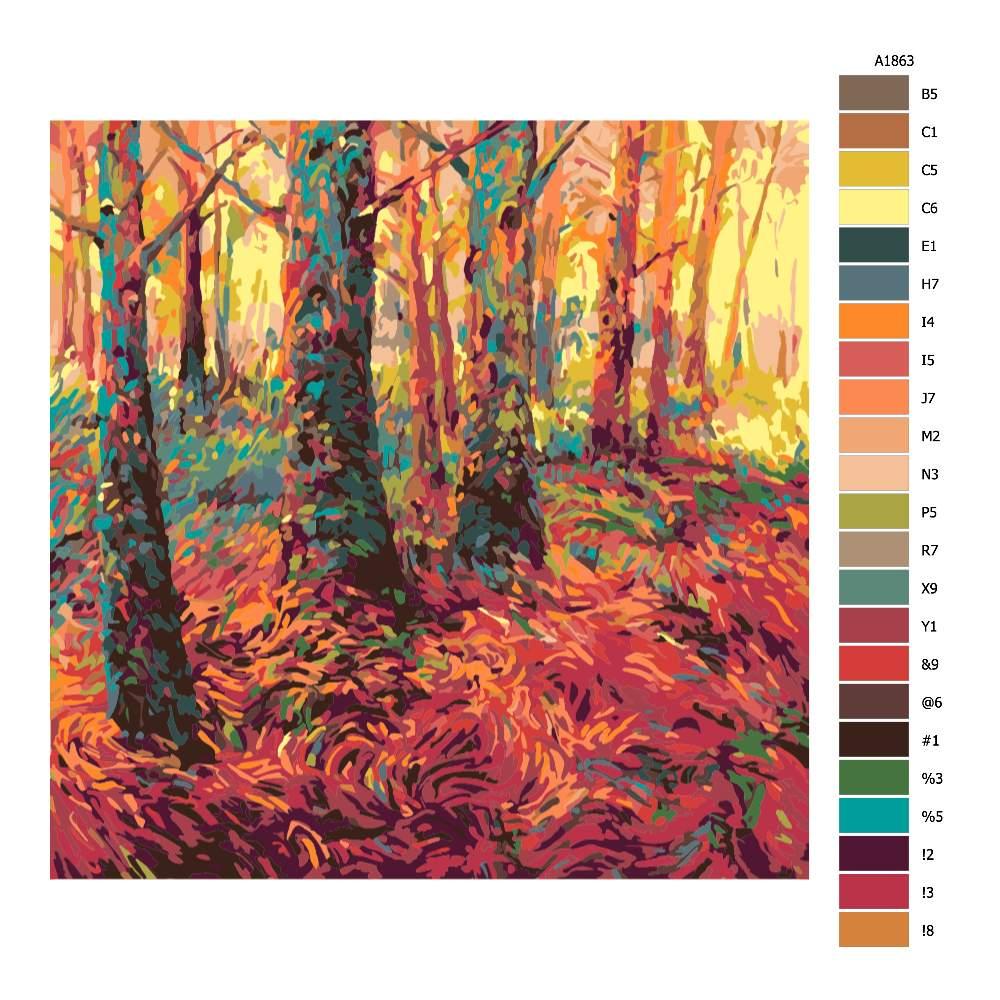 Návod pro malování podle čísel Červený les