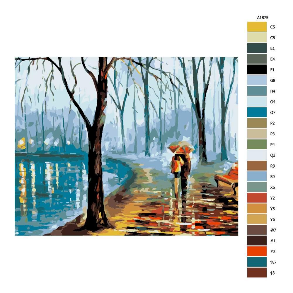 Malování podle čísel Zimní procházka ve dvou