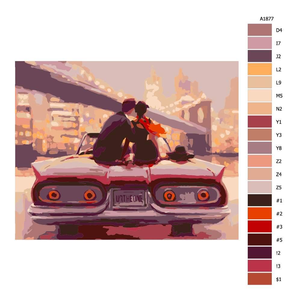 Návod pro malování podle čísel Pohled z auta