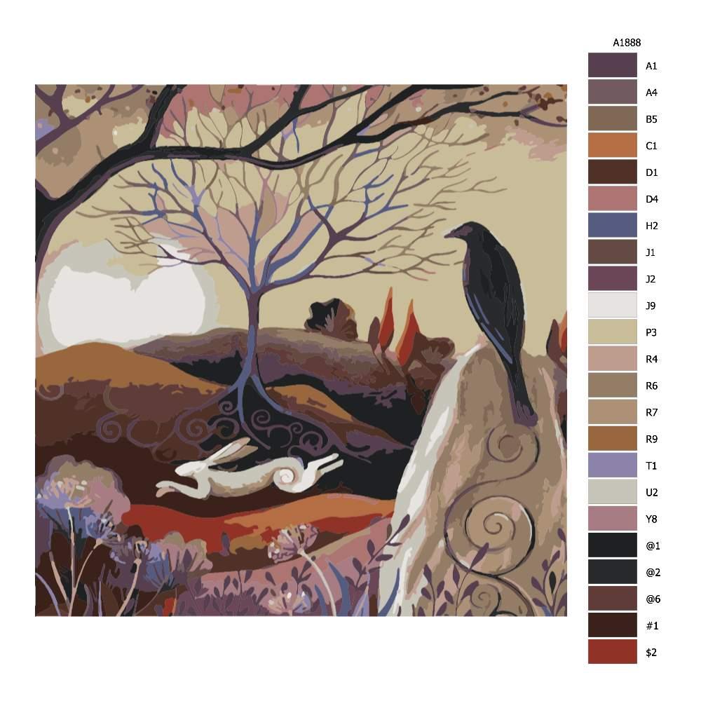 Návod pro malování podle čísel Běžící zajíc a černá vrána