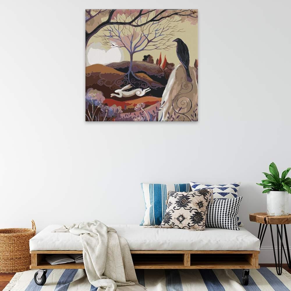Malování podle čísel Běžící zajíc a černá vrána