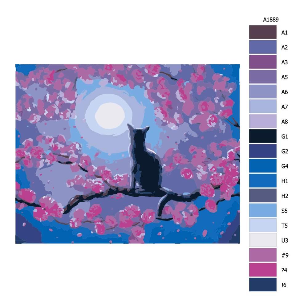 Návod pro malování podle čísel Černý kocour při úplňku