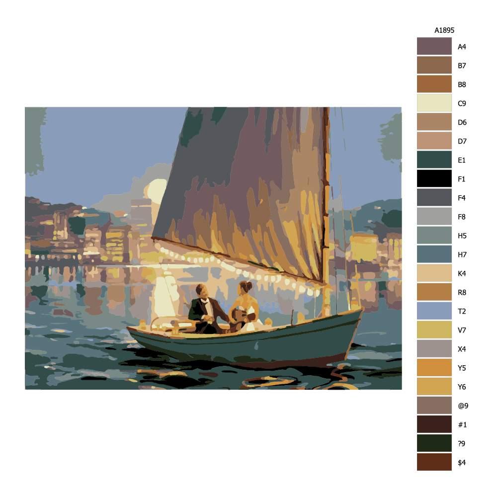 Návod pro malování podle čísel Romantická plavba ve dvou
