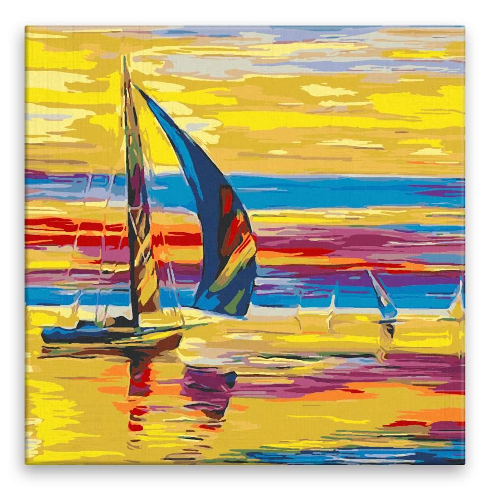 Malování podle čísel Plachetnice a zářivá obloha