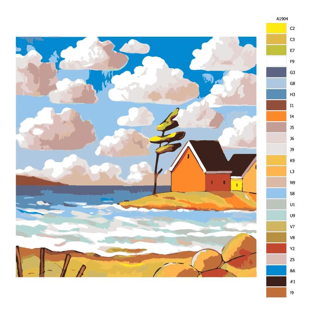 Návod pro malování podle čísel Přímořské domky