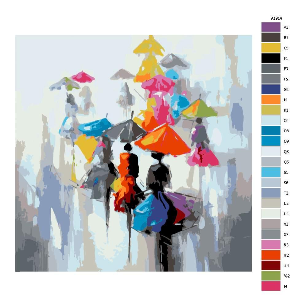 Návod pro malování podle čísel Sedmibarevné deštníky