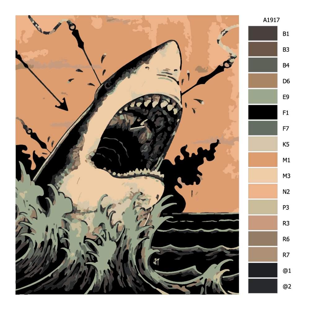 Návod pro malování podle čísel Lov na žraloka