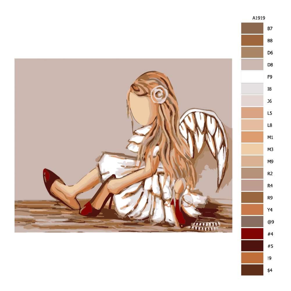 Návod pro malování podle čísel Malý andílek