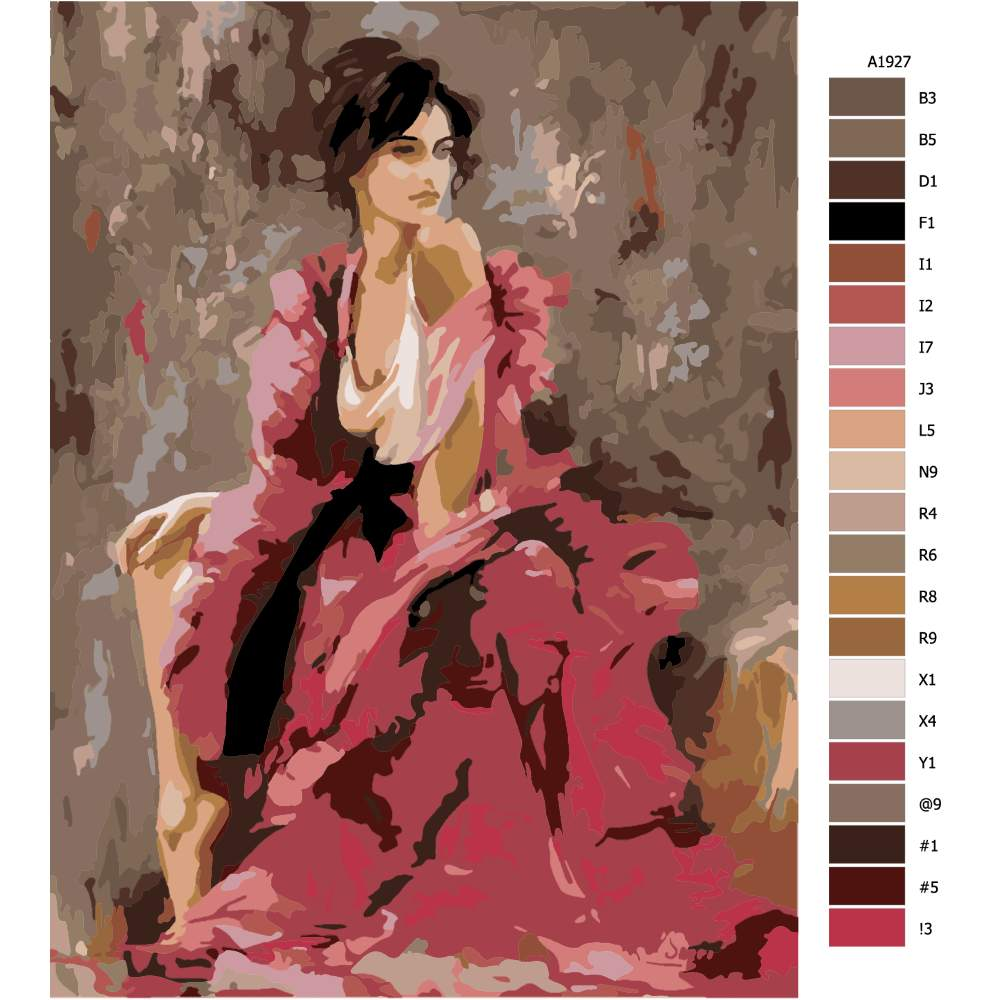 Návod pro malování podle čísel Póza v růžovém