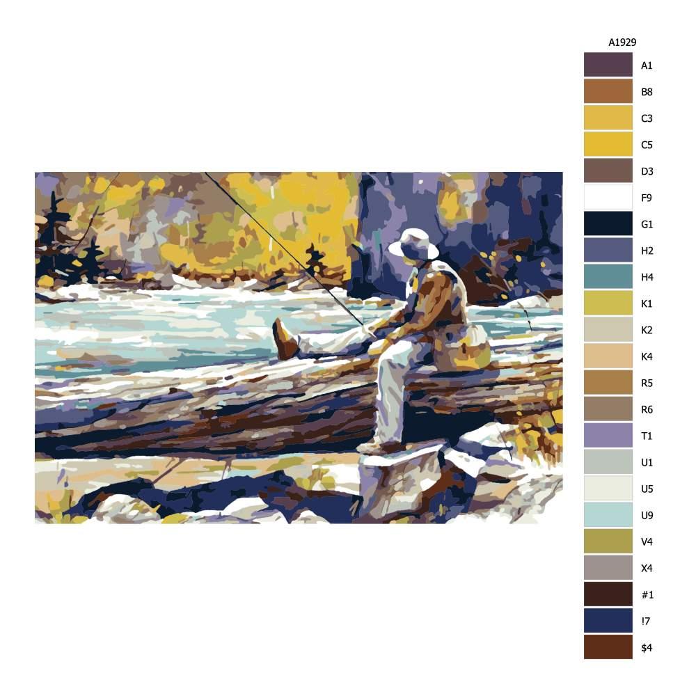 Návod pro malování podle čísel Rybář s brašnou