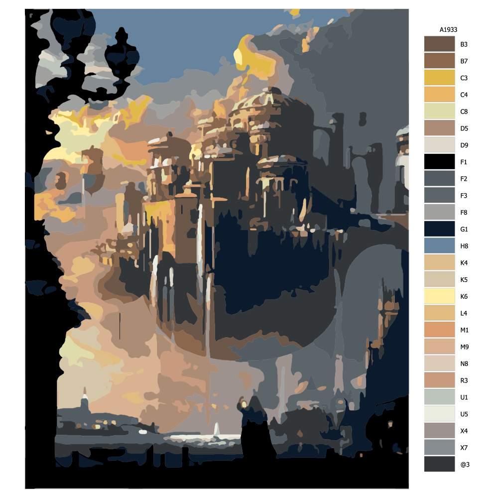 Návod pro malování podle čísel Vzdušné město