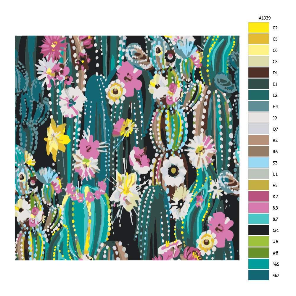 Návod pro malování podle čísel Kaktusové pole