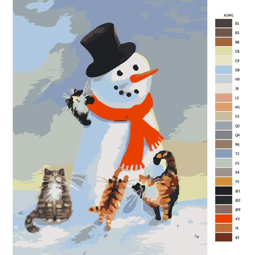 Návod pro malování podle čísel Koťata se sněhulákem