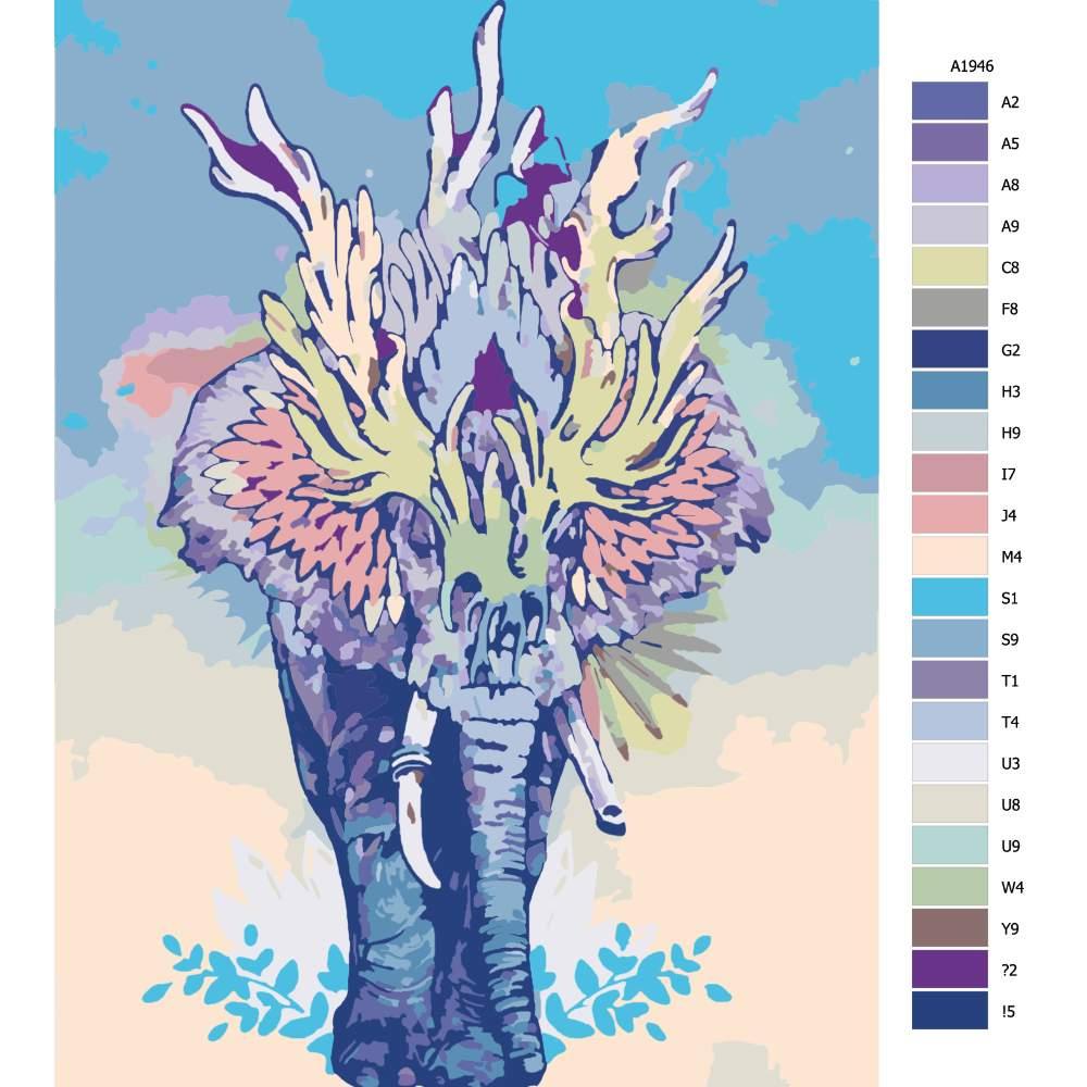 Návod pro malování podle čísel Spirituální slon