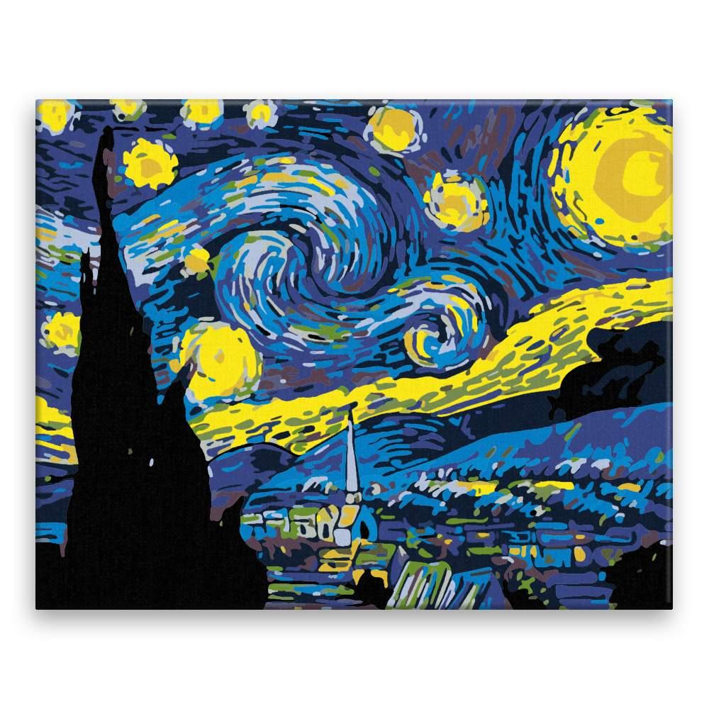 Malování podle čísel Hvězdná noc Van Gogh