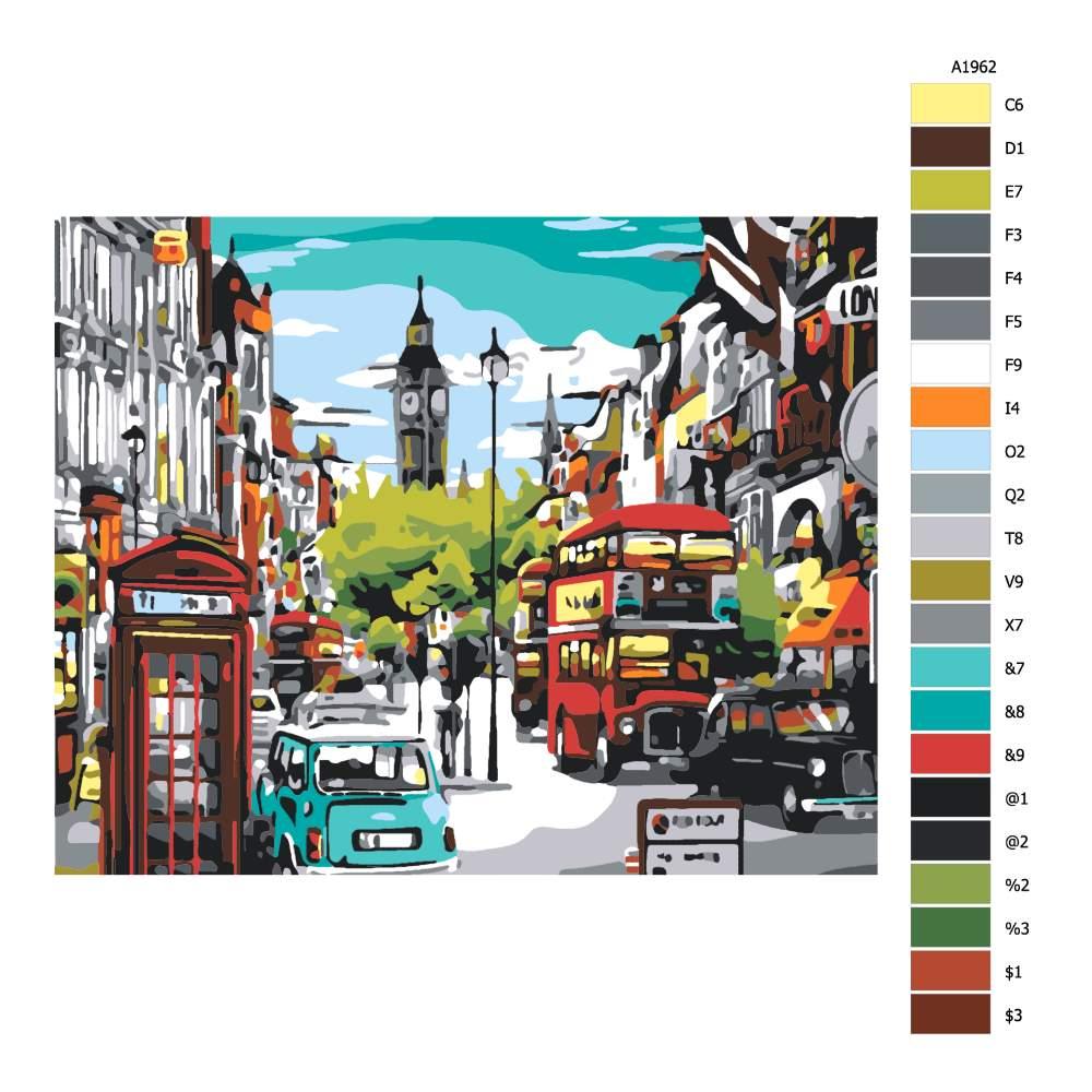 Návod pro malování podle čísel Londýnská ulice