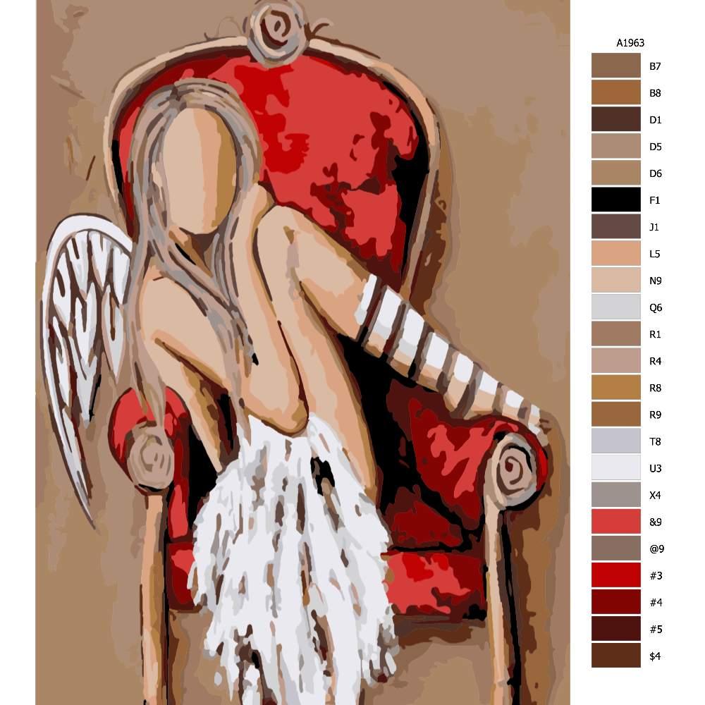Návod pro malování podle čísel Anděl v červeném křesle