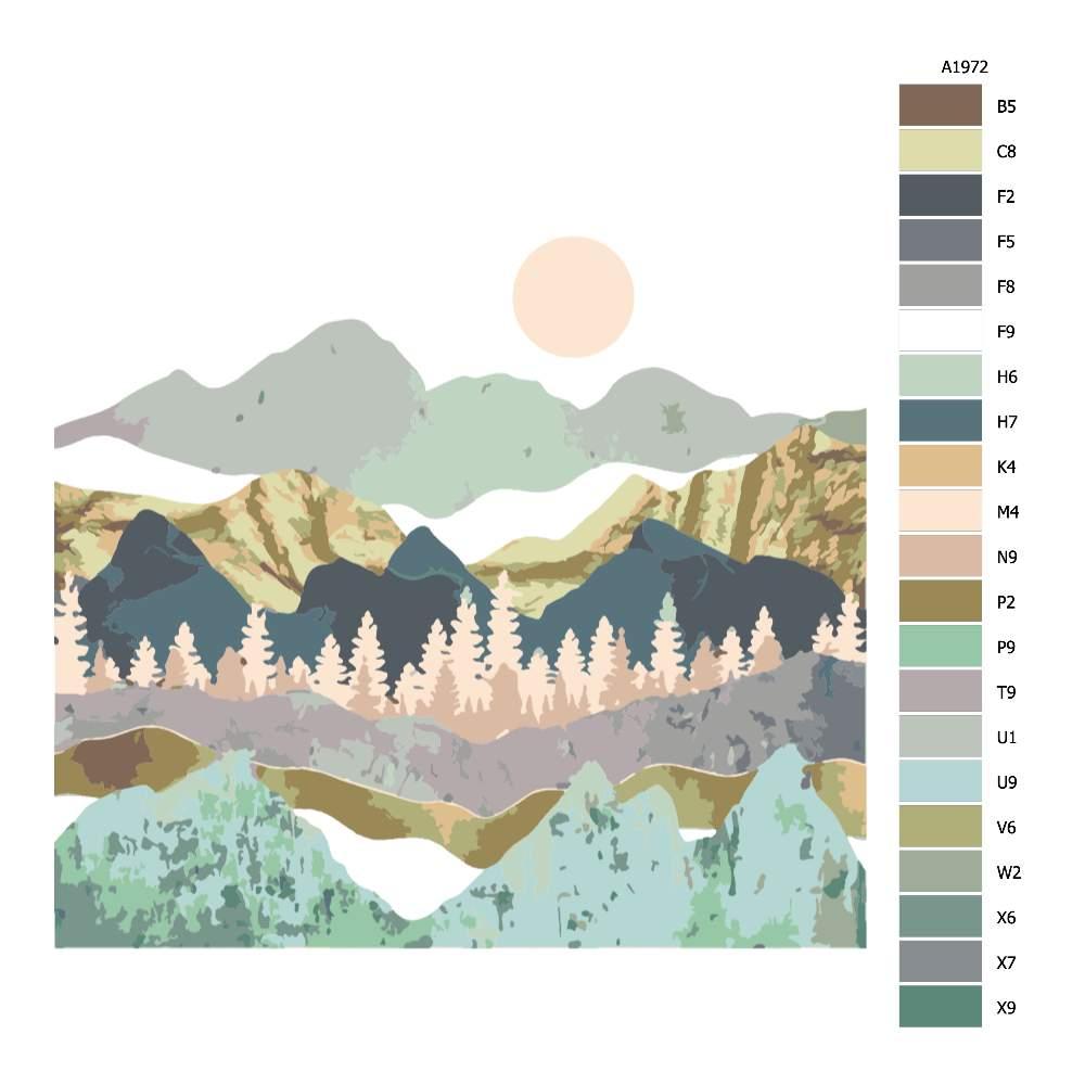 Návod pro malování podle čísel Zlatavé pohoří