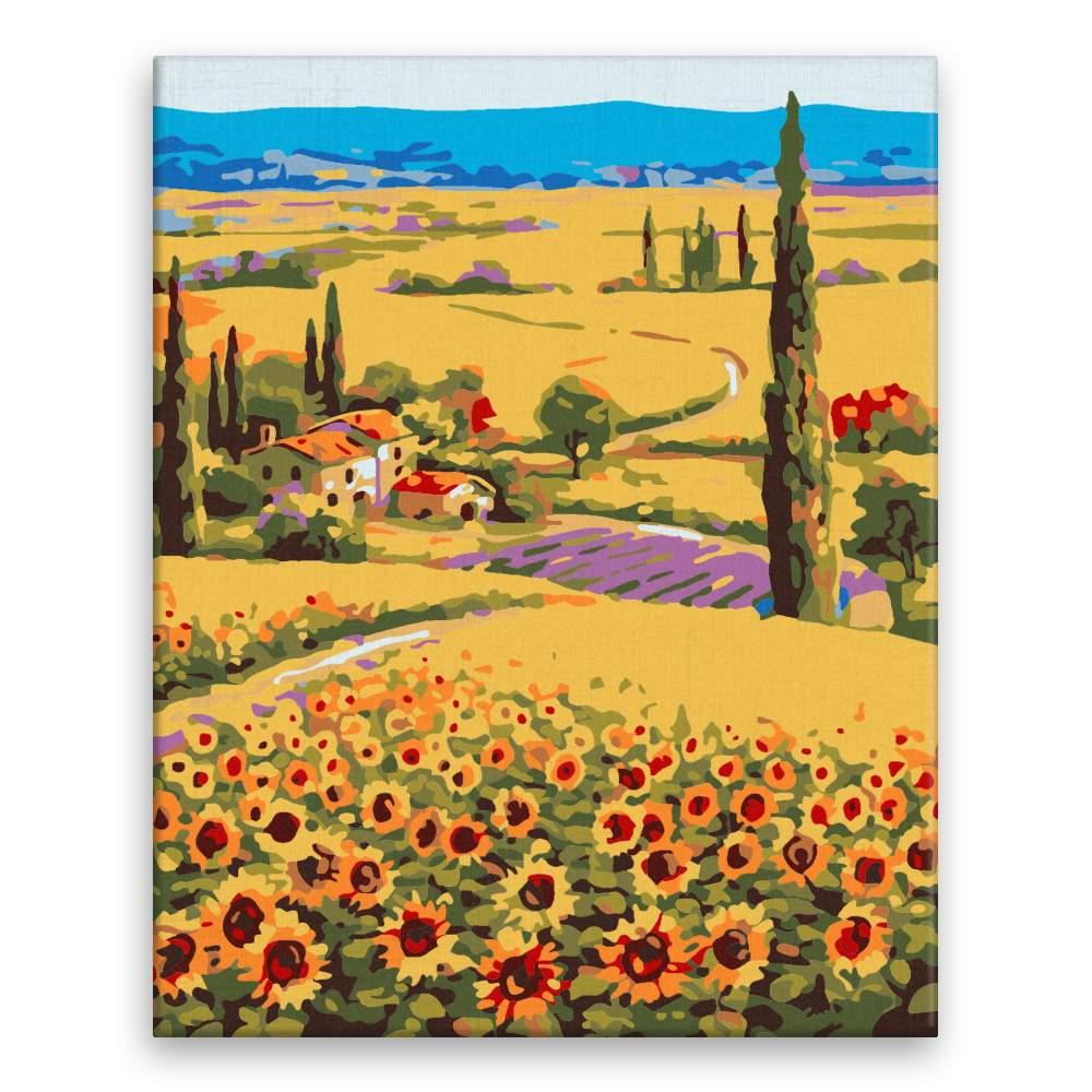 Malování podle čísel Cestička mezi slunečnicemi