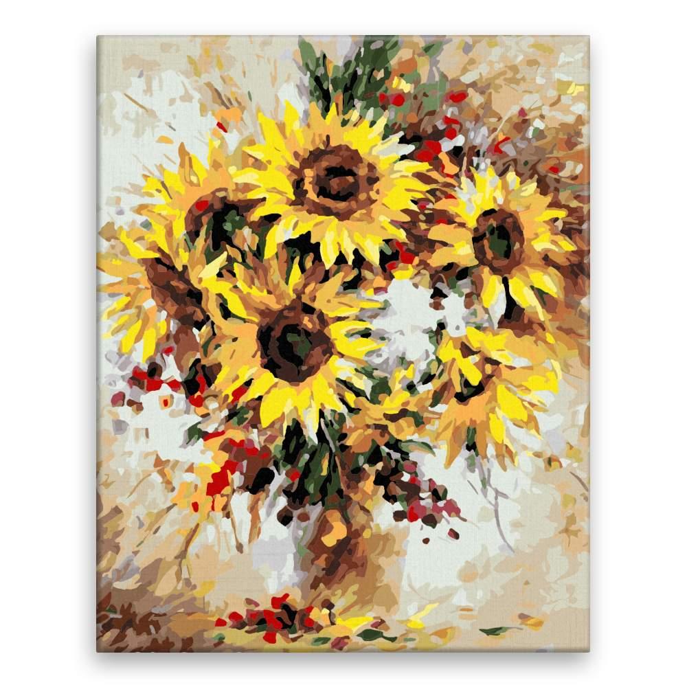 Malování podle čísel Rozzářené slunečnice