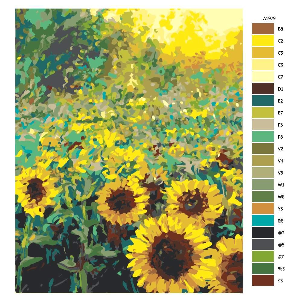 Malování podle čísel Slunečnice v dokvětu