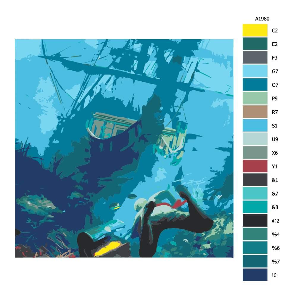 Malování podle čísel Potopený poklad