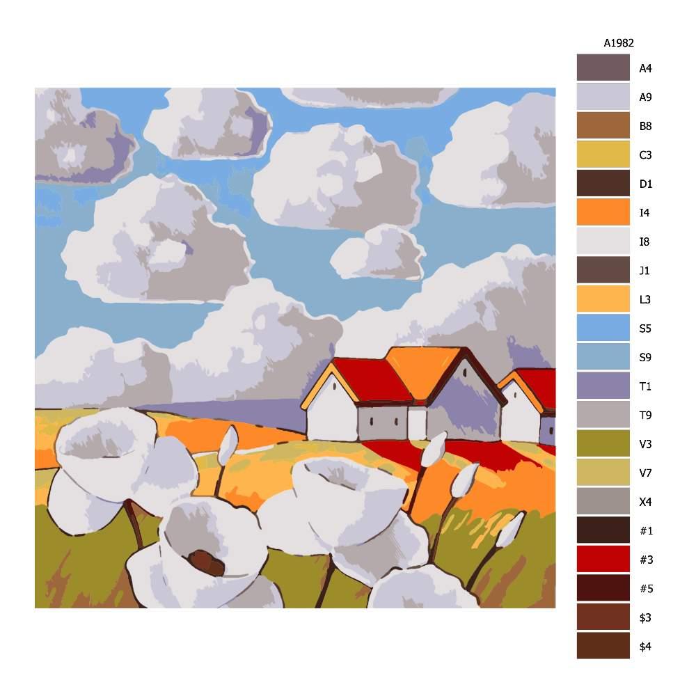 Návod pro malování podle čísel Bělavé květy na louce