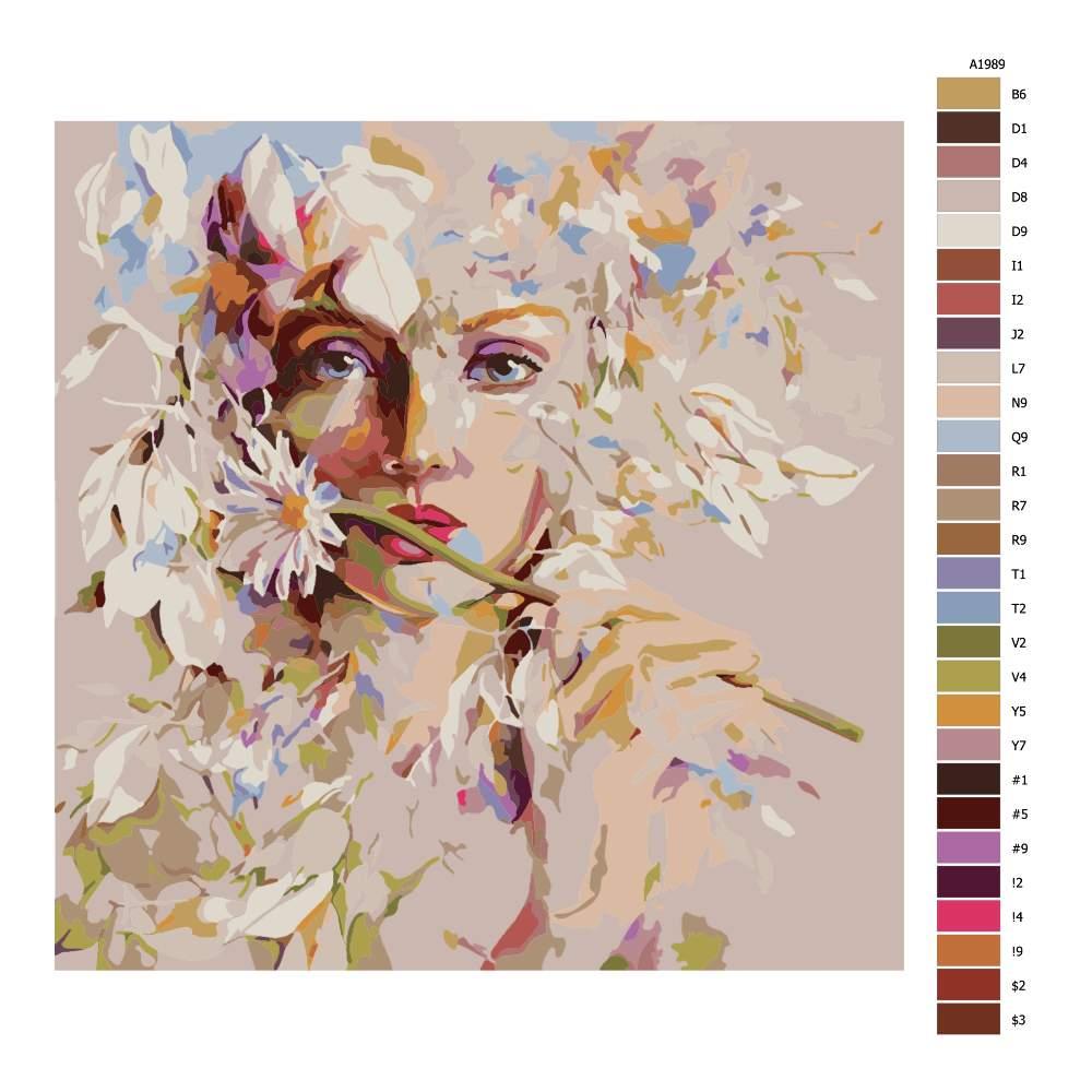 Návod pro malování podle čísel Květinová