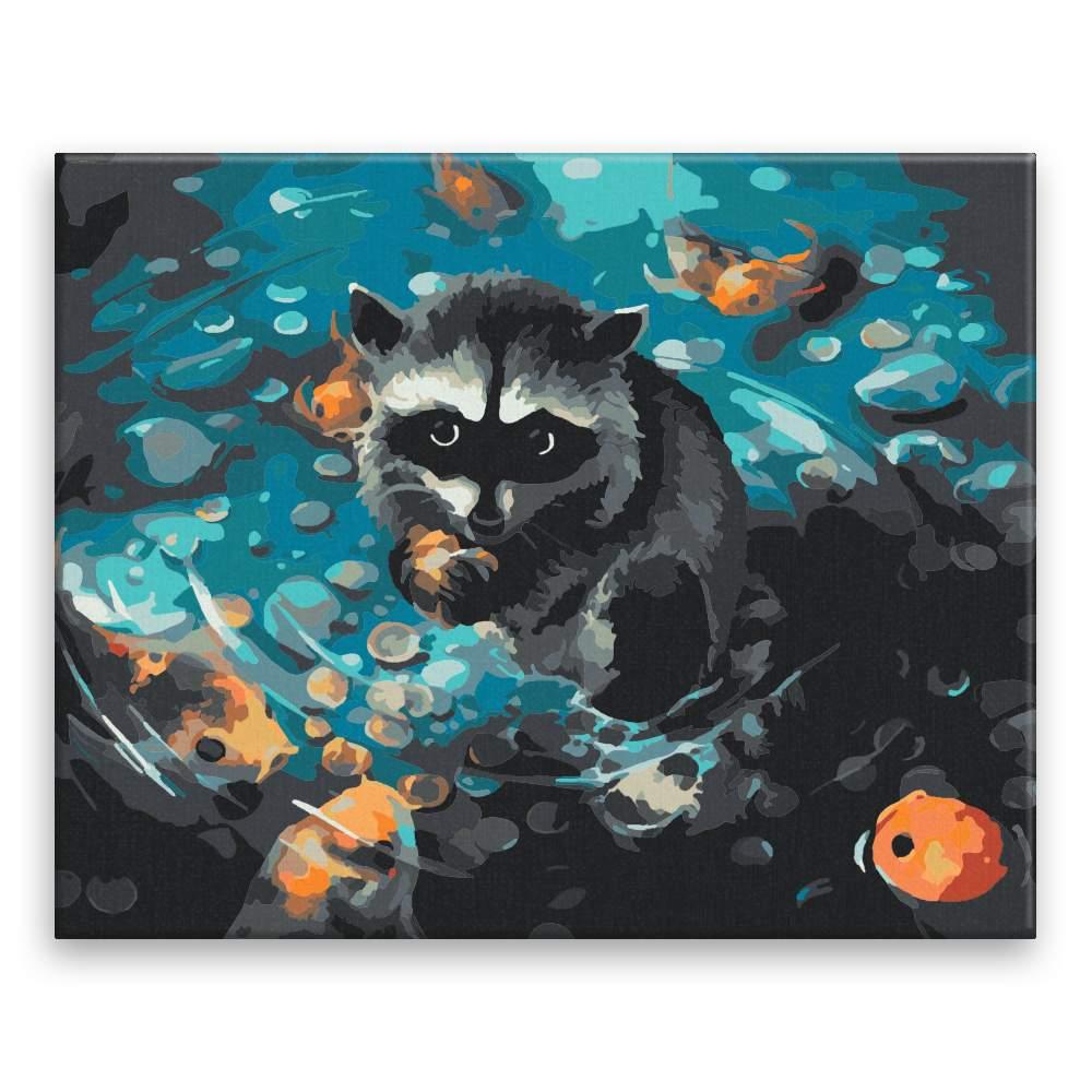 Malování podle čísel Mýval s koi rybičkami