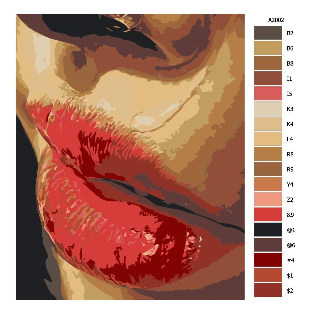 Návod pro malování podle čísel Slza u rtu