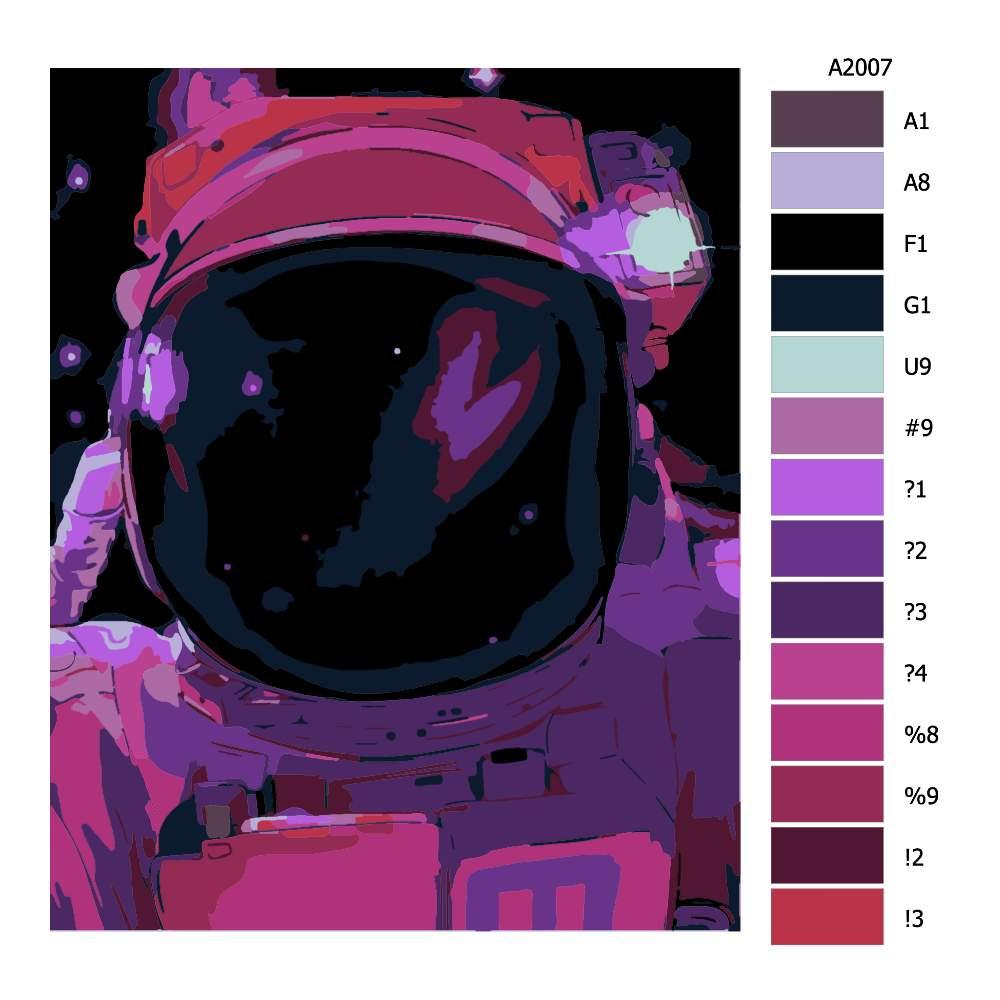 Návod pro malování podle čísel Astronout vysílá