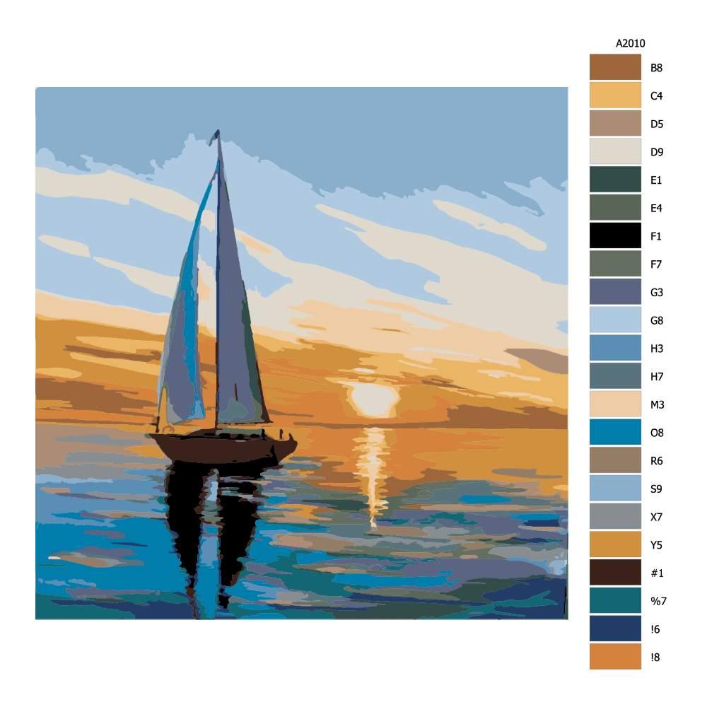 Návod pro malování podle čísel Vzpomínky na plavbu