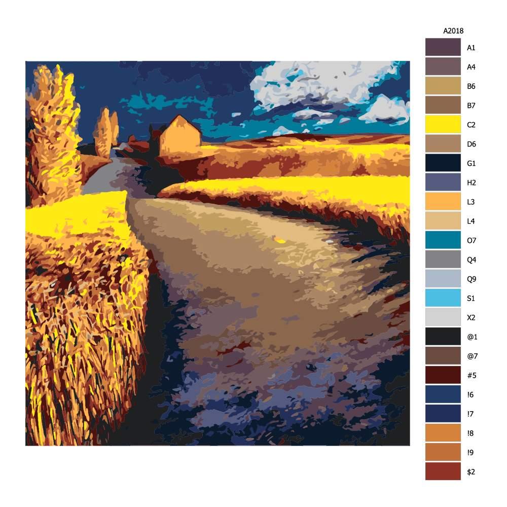 Návod pro malování podle čísel Zlatá záře