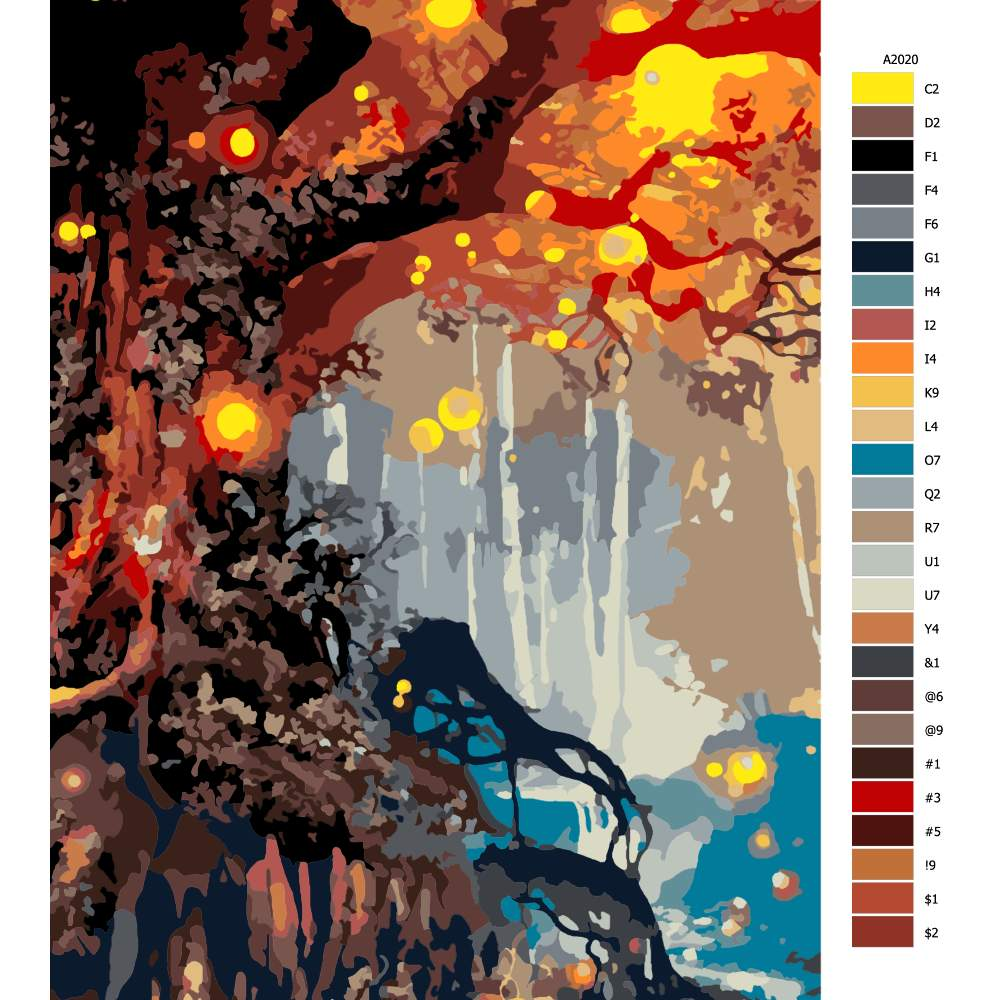 Návod pro malování podle čísel Strom věčnosti