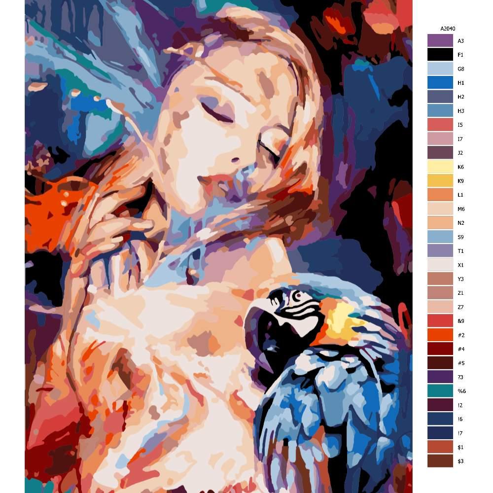 Návod pro malování podle čísel S papouškem s propojení