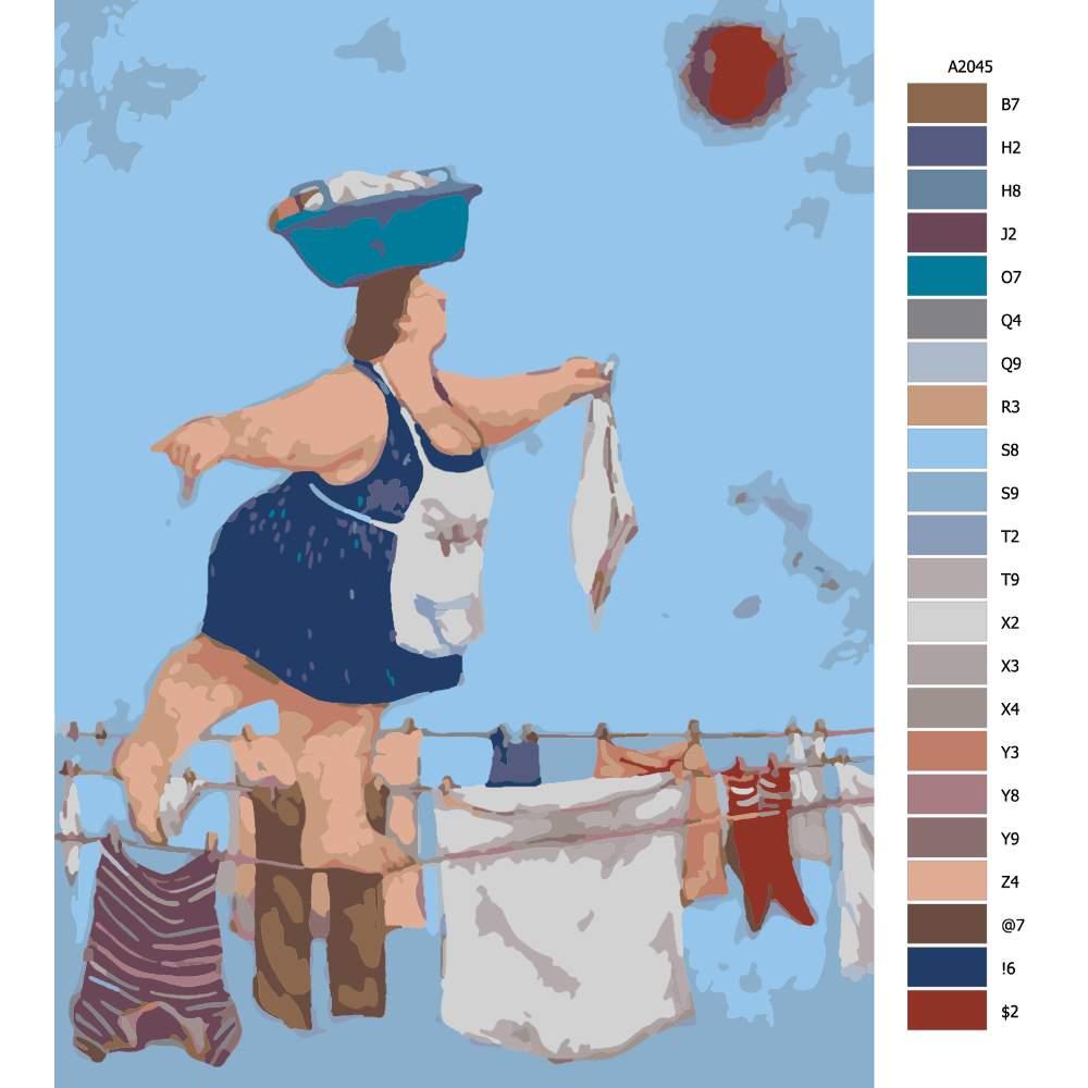 Návod pro malování podle čísel Žena rolníka na laně