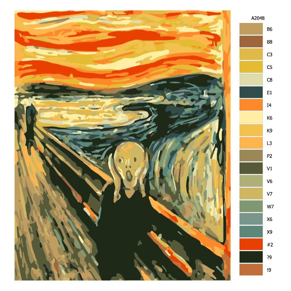 Návod pro malování podle čísel Řev Edward Munch