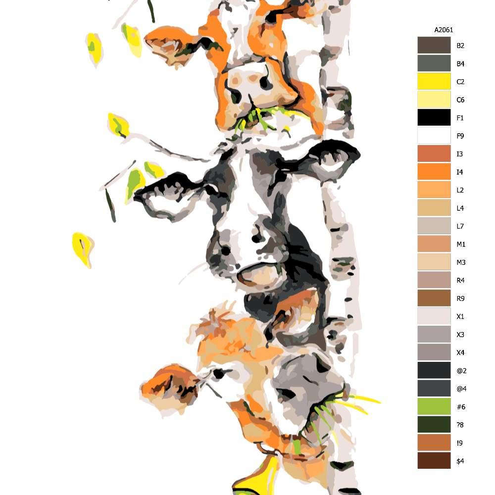 Návod pro malování podle čísel Tři veselé krávy