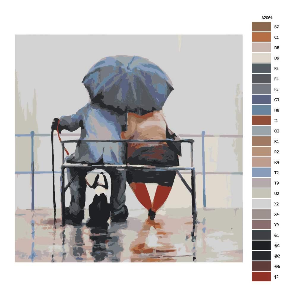 Návod pro malování podle čísel Tři pod deštníkem