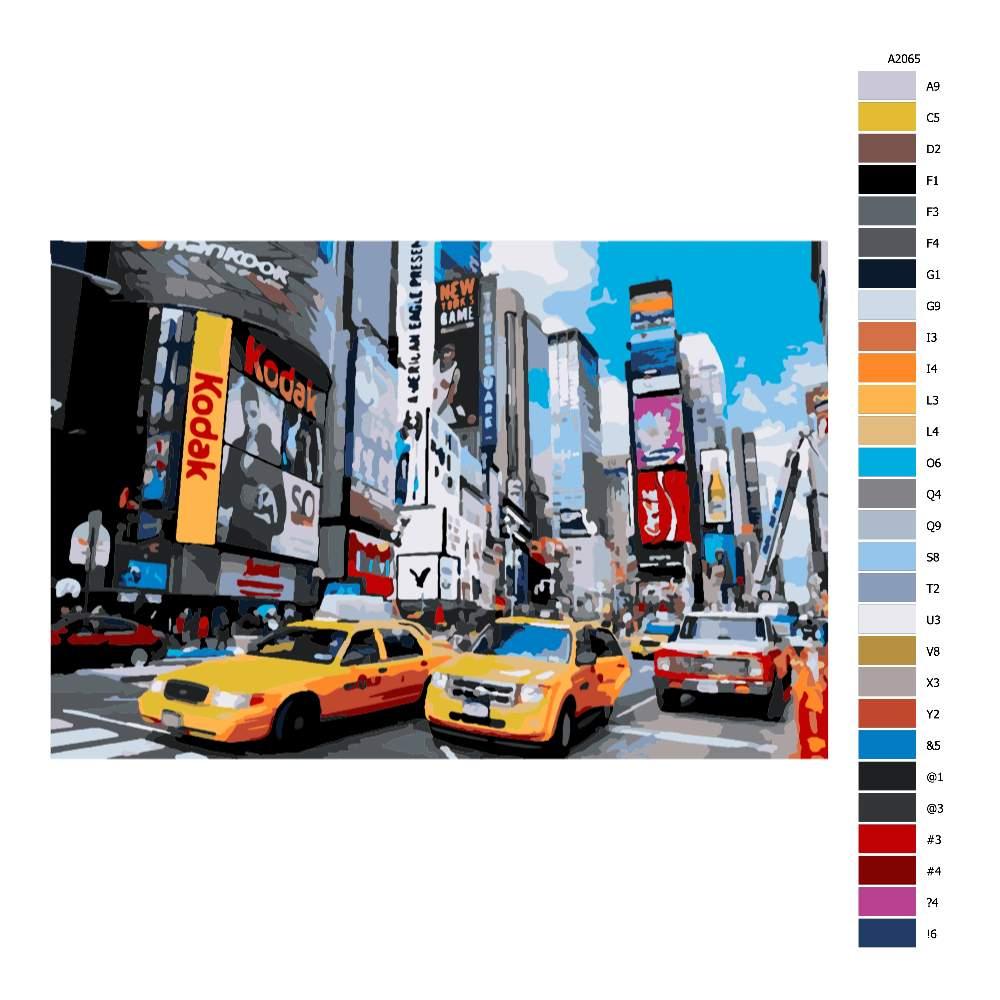 Návod pro malování podle čísel Times Square v New Yorku