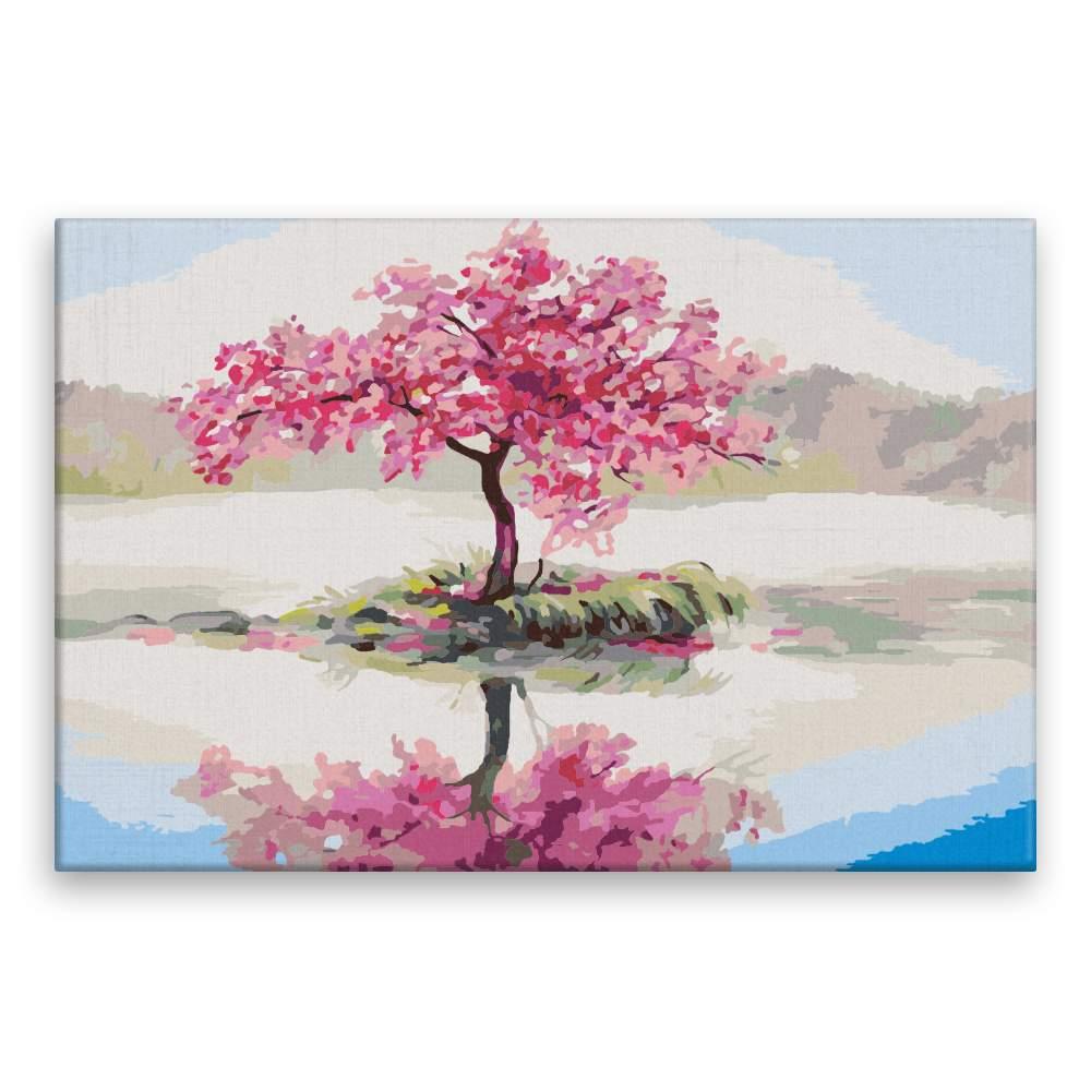 Malování podle čísel Osamocená třešeň v rozkvětu