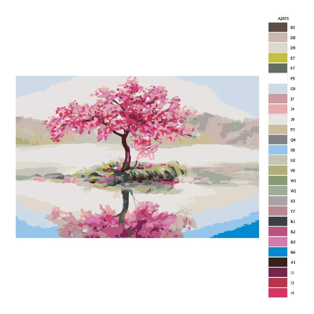 Návod pro malování podle čísel Osamocená třešeň v rozkvětu
