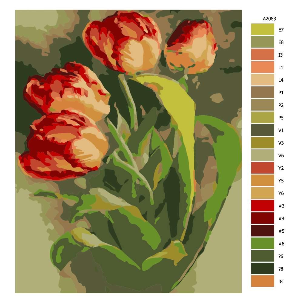 Návod pro malování podle čísel Tulipány II