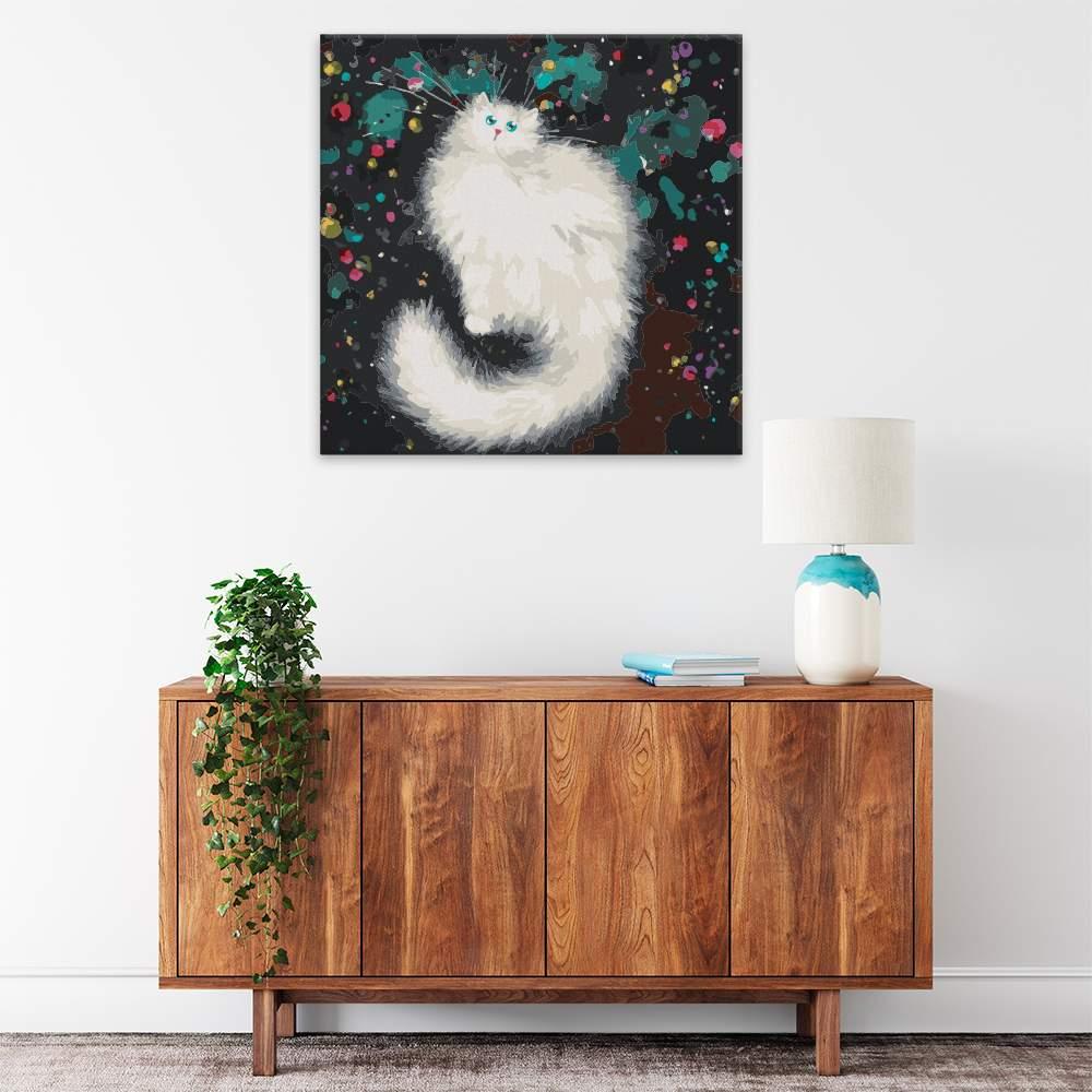 Malování podle čísel Bílá chlupatá kočka ve hvězdách