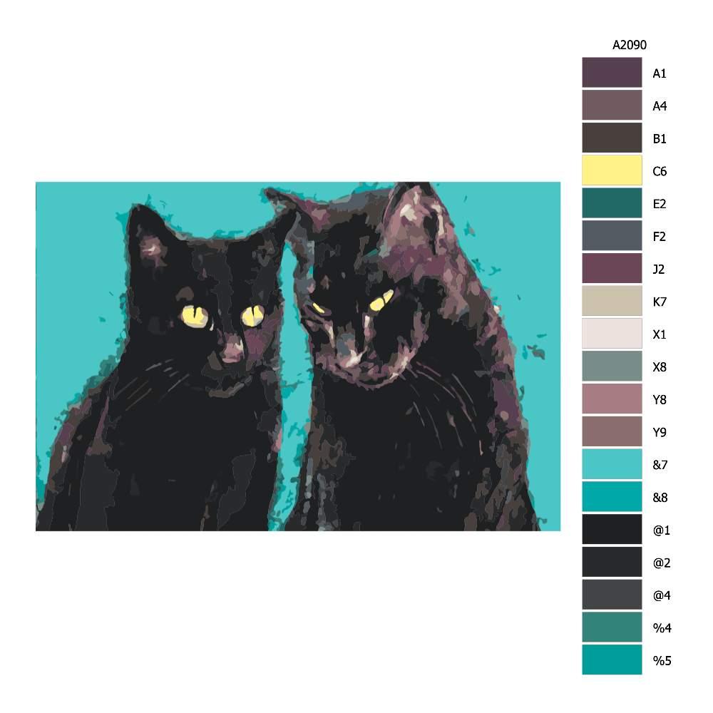 Návod pro malování podle čísel Dva černí kocouři