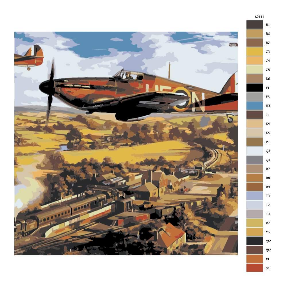 Návod pro malování podle čísel Válečné letadlo
